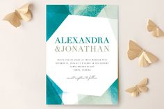 Geometric Watercolor Wedding Invitations by Citrus Press Co. at minted.com