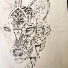 Resultado de imagem para geometric wolf tattoo design