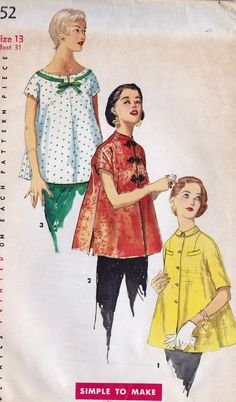 "1950s Misses Maternity Tops Vintage Sewing Pattern Simplicity 1552 Bust 31"" uncut on Etsy, $12.00"
