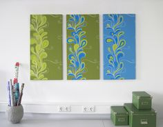 3-piece canvas with paisley pattern and corresponding, fresh colors. Paisley design available on patterndesigns.com