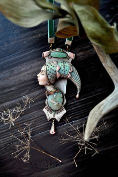 "Pendant ""Dremlea"" goddess, dream, fairy, face, modern, pendant with stone, buy pendant, sculpture, miniature"