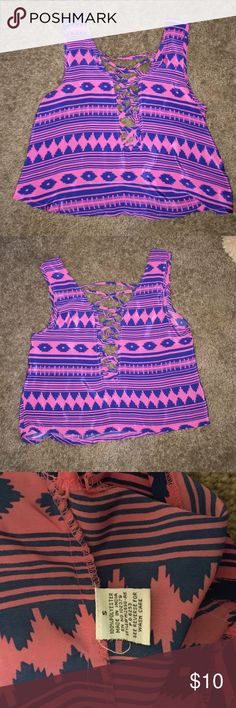 Purple and blue tank top Pretty purple and blue tank top with open stitching in the front and the back. The first picture is on the front and the second is off the back. Tops Tank Tops