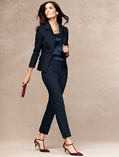 Talbots - Signature Fit Refined Double-Weave Ankle Pant    Sans the kitten heels...trade those in for a pointy or almond toe heel. :-)