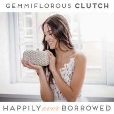 If there is any clutch  that will perfectly match any gown you pick for your wedding day is this Elizabeth Bower one! The hand sewn crystals and pearls   make the perfect combination  https://www.happilyeverborrowed.com/collections/clutches/products/gemmiflorous-clutch?variant=261496288