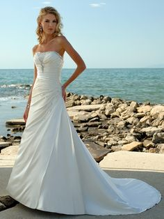 A-line Elastic Woven Satin Strapless Empire Court Train Lace-up Sleeveless Appliques Beading Ruching Wedding Dress