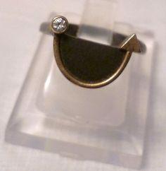 """""""Art Deco Diamant""""  Einmaliges handgefertigtes Goldschmiedunikat im """"Art Deco-Look"""":  Geschwärztes Rohsilber 925, mit 24 Karat Hartgoldauflage und in"""