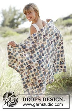 """Rocky Path - #Crochet DROPS blanket with small Granny squares in """"Fabel"""". - Free pattern by DROPS Design"""