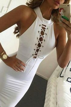 Sexy Off The Shoulder Sleeveless Front Lace-up White Polyester Sheath Knee Length Dress