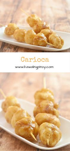 Carioca are deep-fried glutinous rice balls coated with caramel syrup; they are popular Filipino street food and commonly sold skewered in bamboo sticks