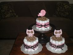 Bird Baby Shower Diaper Cake or Owl Baby Shower Diaper Cake Centerpieces other colors, toppers and sizes too. $12.00, via Etsy.