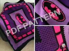 Purple & Pink Batman Crochet Graphghan Blanket Pattern (PDF file only) - inspired by DC comics Batman and Batgirl Batman Crochet Hat, Crochet Hats For Boys, Single Crochet Stitch, Double Crochet, Crochet Baby, Crochet Toys, Crochet Blanket Patterns, Crochet Stitches, Crochet Afghans