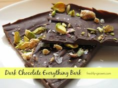Yum! Dark chocolate 'bark!' Just break up chunks, keep in the freezer and pull out when you want a healthy, sweet treat.