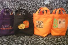 Trick or Treat bags made of felt and by funandfancybysandi on Etsy