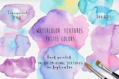 Watercolor Light Stains Textures Set.  Set of 24 watercolor stains textures, pastel colours - light shades - of high quality. DOWNLOAD INCLUDES: • 24 irregular shaped textures in watercolor, light colors (all are painted handmade, unique and original, no duplicates). • The 24 files are high-res, 300dpi, RGB, in transparent PNGs by MARAQUELA