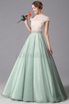 eDressit Green Chiffon High Neck A Line Prom Gown Dress with Applique