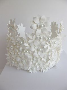 beautiful handmade crown of paper and glass pearls - by Diana Giambrone - www.etsy.com/listing/72988554/crown-of-paper-and-glass-pearls-handmade?ref=sr_gallery_1_search_query=paper+crown+pearl_order=most_relevant_ship_to=US_view_type=gallery_search_type=handmade