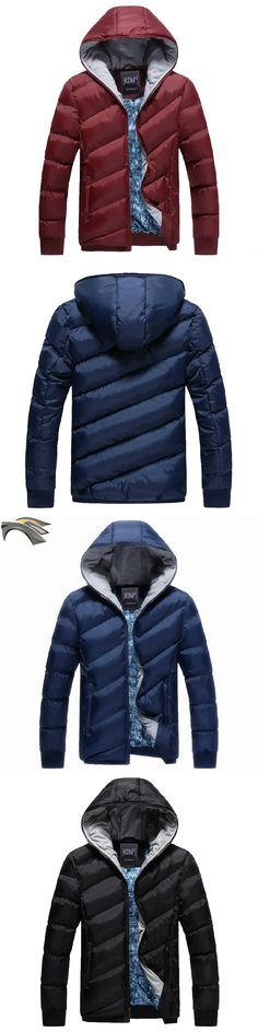 DUNKINBO Men Fashion Hooded Wadded Padded Jacket Thick Cotton Cashmere Winter Warm Coat Outwear 3 Colors 7713
