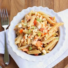 Buffalo Chicken Pasta Salad: hot or cold.  I could swear I'd already pinned this...  Results:  I made this with leftovers from the buffalo chicken I made in the crockpot last week.  Yummy!  I wish I'd had celery--it was kind of monochromatic without it...