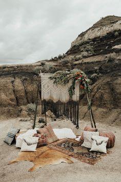 Drumheller Styled Boho Elopement via Rocky Mountain Bride