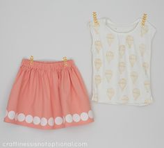craftiness is not optional: KCWC: hot air balloon tee and applique skirt