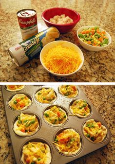 chicken pot pie cupcakes- maybe pour the filling in a pan and top with frozen biscuits to freeze for later? by camille Muffin Tin Recipes, Baby Food Recipes, Dinner Recipes, Cooking Recipes, Muffin Tin Meals, Toddler Chicken Recipes, Toddler Recipes, Pot Pie Cupcakes, Easy Chicken Pot Pie