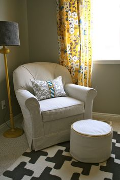 darling club chair and ottoman slipcovers with checked fabric.. love the houndstooth rug