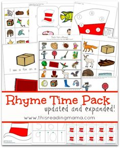 FREE Rhyme Time Pack from This Reading Mama part 1 a hunting w e will go part two cat in the hat