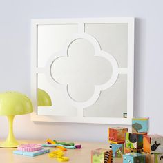 Kids' Room Decor: Kids' Hanging White Clover Mirror in Mirrors