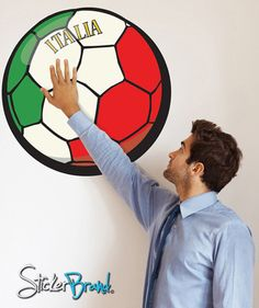 Graphic Wall Decal Sticker Football Soccer Italia Italy #JH36 | Stickerbrand wall art decals, wall graphics and wall murals.
