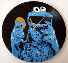 Cookie Monster vinyl record clock vol.2 by VantidusVinylArt, $39.00