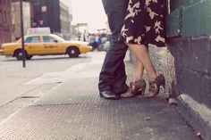 Shoes with cab in background