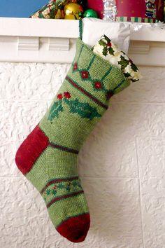 Holly Christmas Stocking Knitting Kit