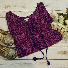 Pink and Blue Pattern Top GAP EUC blue and pink top with tassel accent at neck GAP Tops
