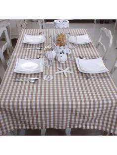 Cotton Coffee & White Color Small Plaid Table cloth