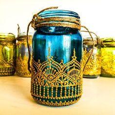 Hand Painted Henna Moroccan Mason Jar Lantern by MKConnection Mason Jar Lanterns, Candle Jars, Mason Jars, Glass Painting Designs, Paint Designs, Bottle Painting, Bottle Art, Jar Crafts, Bottle Crafts