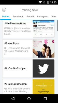 Top trends in this hour on #Twitter (India)  #MediaWantsRiots  #BeautilityIs  #AsCoolAsCoolpad  #BrainKaBootcamp  Get #trendstoday app for more updates.