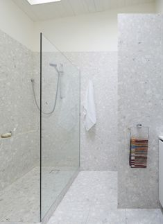 foomann - architecture + design | haines street, north melbourne, minimalist terrazzo tiled bathroom with skylight
