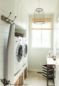 Laundry Room Design: For small narrow Laundry Room - raised washer and dryer- dont want to have to buy new w/d- and dont the front load washers end up smelling? Small Laundry Rooms, Laundry Room Storage, Laundry Room Design, Laundry Baskets, Laundry Closet, Laundry Decor, Laundry Area, Laundry Stand, Ikea Laundry