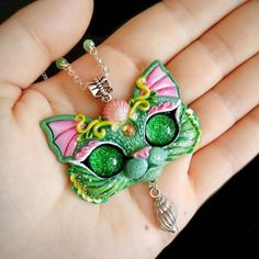 Green Purrmaid OOAK kitty cat necklace handmade polymer clay pendant by FleurDeLapin