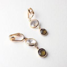 """Vintage Swarovski """"Olive"""" and """"Crystal"""" Earring •"""