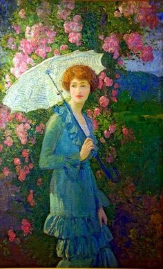 ⊰ Posing with Posies ⊱ paintings of women and flowers - George Laurence Nelson | Helen In Her Garden