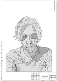 It's a portrait of my best friend, that I made in this engineering drawing style.