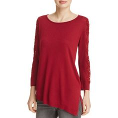 Love Scarlett Lace Sleeve Asymmetric Sweater - 100% Bloomingdale's... ($82) ❤ liked on Polyvore featuring tops, sweaters, red, lace sleeve sweater, red top, asymmetric top, lace sleeve top and red sweater