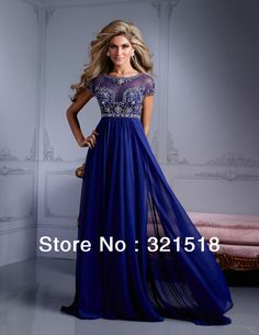 Cheap dress curve, Buy Quality dress textile directly from China dresses plus size girls Suppliers: CE-264 Custom Made Crystals Beads Royal Blue See Through Chiffon Long Formal Evening Dress with Short Sleeves &n