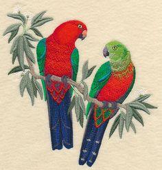 Australian King Parrots in Eucalyptus Tree design (L2802) from www.Emblibrary.com