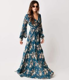 Style Teal Rose Floral Long Sleeve Maxi Dress from Unique Vintage. Saved to Style. Cute Maxi Dress, Maxi Dress With Sleeves, Floral Maxi Dress, The Dress, Maxi Dresses, Lace Maxi, Full Sleeves, Maxi Skirts, Floral Chiffon