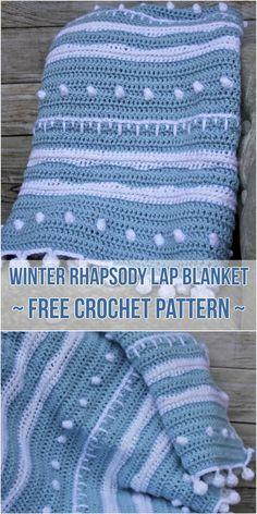 Winter Rhapsody Lap Blanket - Free Crochet Pattern #crochet #blanket #freepattern #sampler #rhapsody