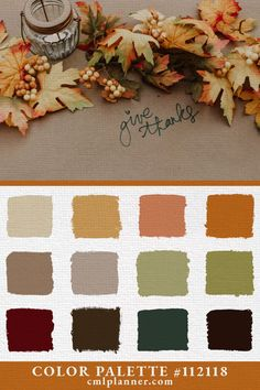 Color Inspiration : Color Palette - Its time for another daily dose of color inspiration! Check out our website Fall Color Schemes, Fall Color Palette, Colour Pallete, Color Palettes, Paint Colors For Home, House Colors, Fall Paint Colors, September Colors, Palette Deco