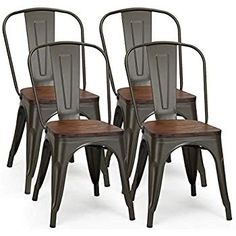 Shop Costway Set of 4 Style Metal Dining Side Chair Wood Seat Stackable Bistro Cafe - Set of 4 - Overstock - 27333849 Bar Chairs, Dining Chair Set, Side Chairs, Dinning Table, Vintage Metal Chairs, Round Wood Table, Industrial Dining Chairs, Metal Kitchen Chairs, Metal Farmhouse Chairs