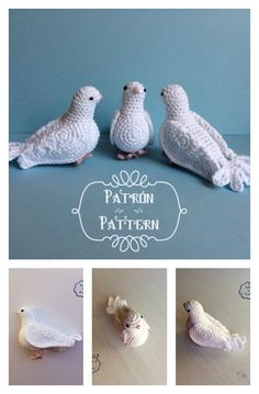 Crochet Dolls Patterns Crochet White Dove Bird Free Pattern - Here are some Amazing Crochet Bird Amigurumi Free Patterns to make really cute and beautiful birdies. They are perfect addition to decoration for your home. Crochet Bird Patterns, Crochet Birds, Amigurumi Patterns, Crochet Animals, Amigurumi Doll, Crochet Flowers, Crochet Stars, Fabric Flowers, Crochet Diy